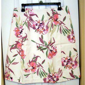 Joe Fresh White & Floral Knee Lenght Skirt, sz. 12